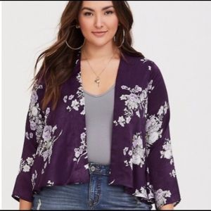 Torrid Purple Floral Kimono XL/XXL